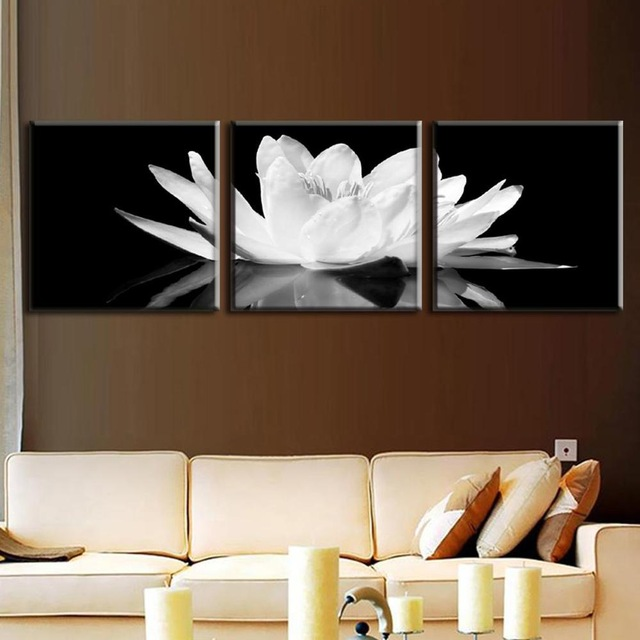 No Marcos 3 Unids Set Lienzo Flor Lotus Blanco En Negro Pared Arte