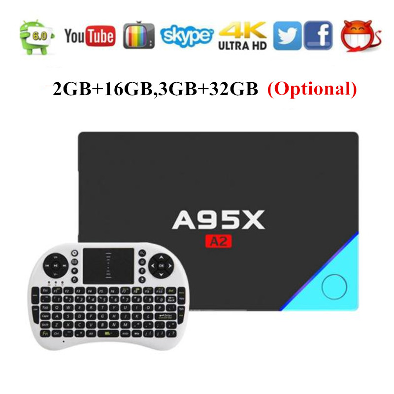 A95X A2 Android TV Box Amlogic S912 Android 6.0 4K Dual Band Wifi 2G 16G 32G Smart Media Player Top Box PK X92 GT1 Ultimate x92 a912 ap6255 professional 2g 16g home tv box top s912 octa core cpu wireless entertainment player us plug type