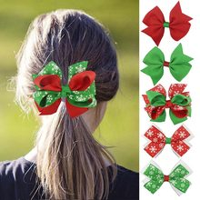 1Pcs Cute Baby Girl Christmas Hair Bow With Alligator Clip Christmas Ornaments Bowknot Hairpin Kids Snow Santa Hair Accessories(China)