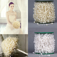 2 Colors 60m Roll Ivory White Pearls String Beads Garland Christmas Wedding Party Decor Bride Holding