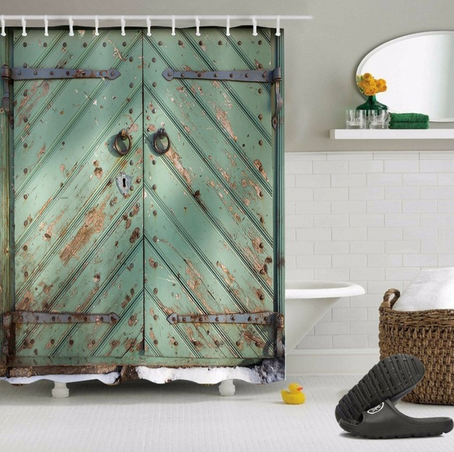 72 Customized Blue Rustic Farmhouse Door Shower Curtain Liner Polyester Bathroom Waterproof Fabric Bath