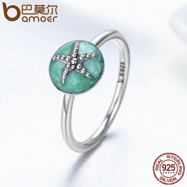 Authentic 100% 925 Sterling Silver Fantasy Starfish Wedding Band Finger Ring Women Sterling Silver Jewelry S925 SCR202