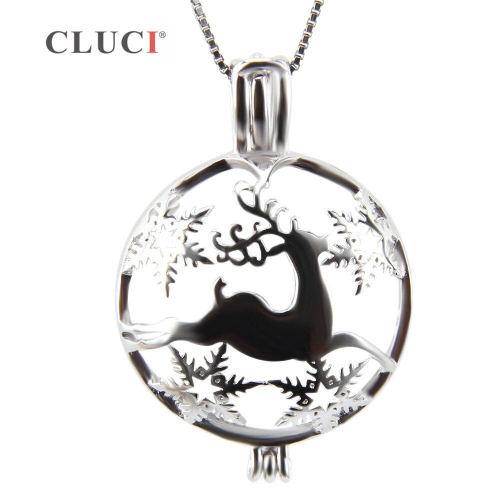 CLUCI Silber Schmuck Deer Halskette anhänger Elch, Weihnachten ...