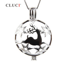 CLUCI Silver Jewelry Deer Necklace pendant Elk, Christmas charms, running sika deer cages 3pcs