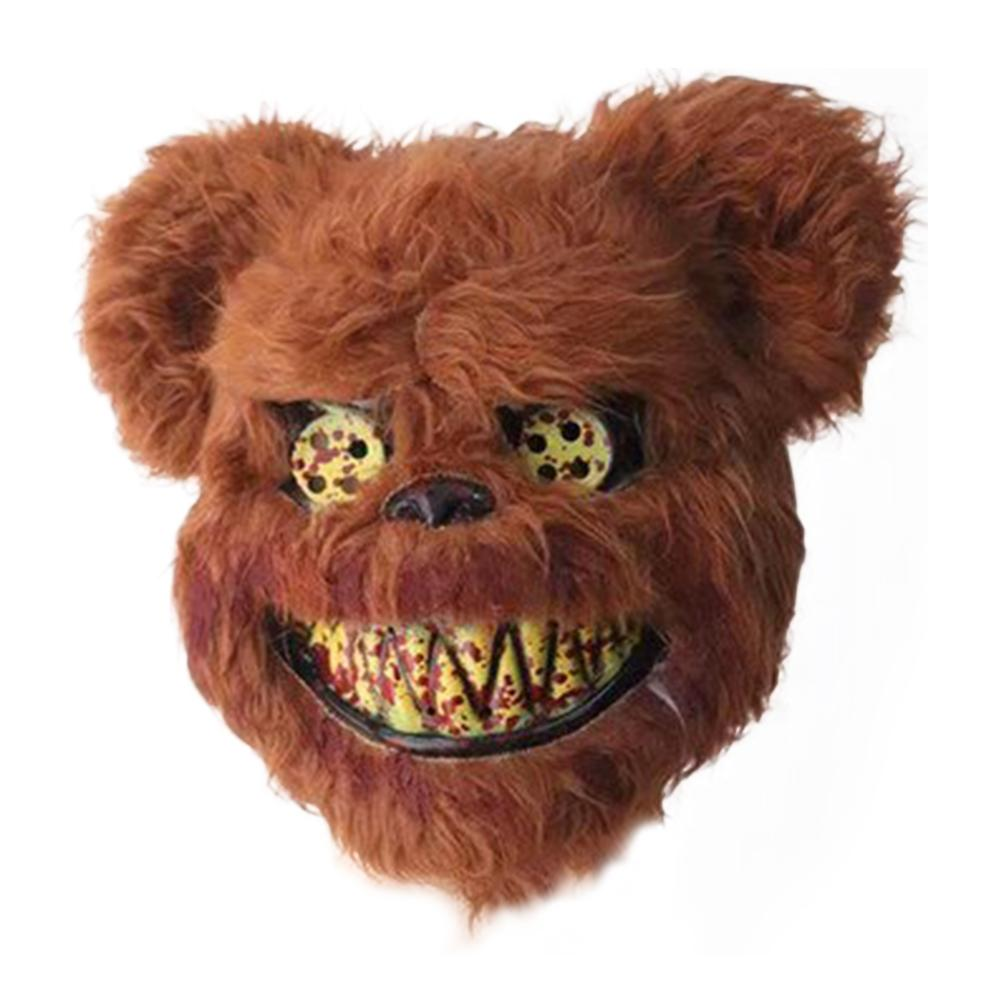 2019 New Bloody Teddy Bear Mask Masquerade Scary Plush Mask Halloween Performance Props Fashion Halloween Supplies Scary Props
