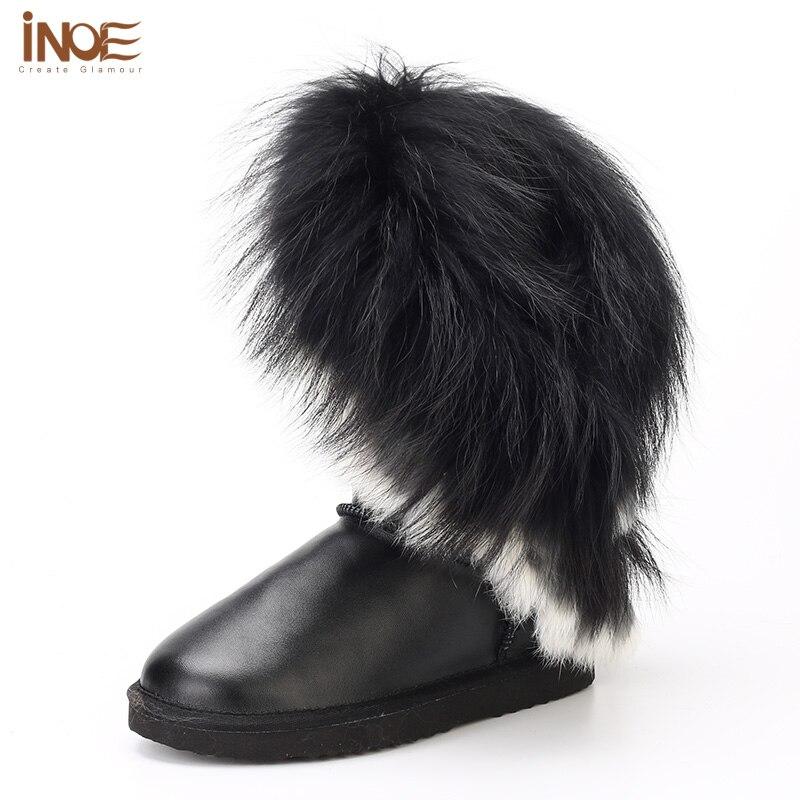 INOE real fox fur women winter snow boots rabbit fur tassels cow split waterproof leather non-slip sole black 35-44 high quality rabbit print split top