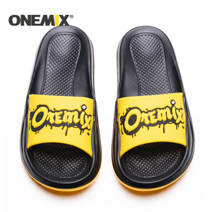Image 2 - ONEMIX Summer Men Beach Sandals Unisex Slippers Personality Graffiti Skin Friendly Indoor Outdoor Women Wading Flats Shoes Men