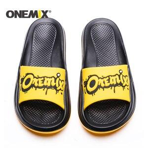 Image 2 - Сандалии ONEMIX унисекс, пляжные тапочки с граффити, удобные для улицы и дома, обувь на плоской подошве для мужчин и женщин, для летнего сезона