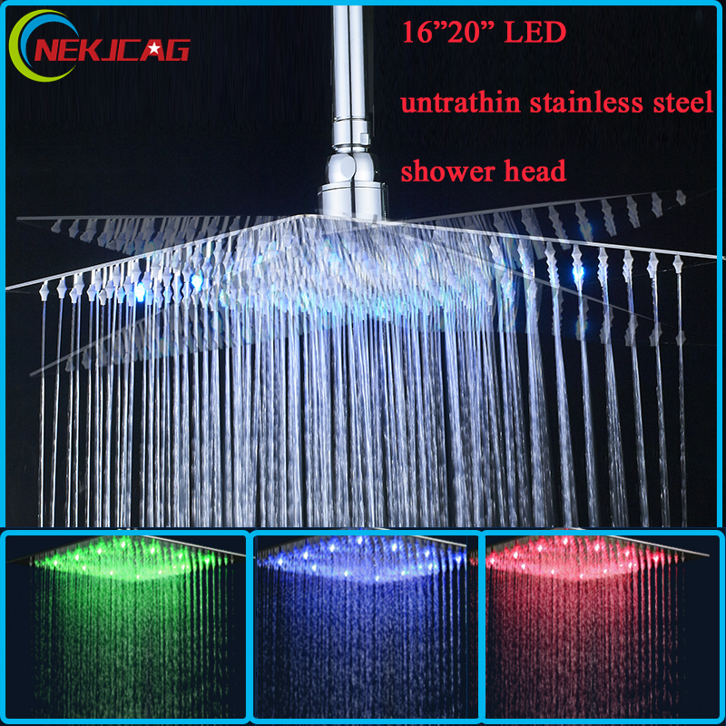 Bathroom Ultrathin LED Shower Faucet Head Stainless Steel 16 20 Chrome Finish Rainfall only Shower Head