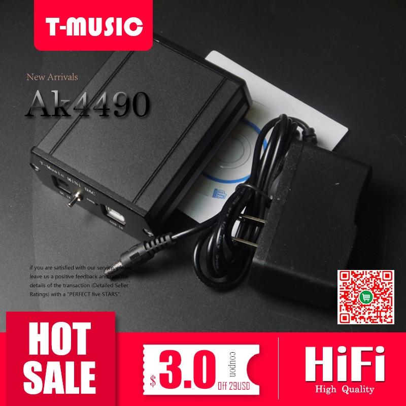 T-Music MiNi HiFi DAC AK4490 + MUSES8920 + XMOS U8 USB DAC Decoder W/ 3.5mm Headphone Output + Power adapter