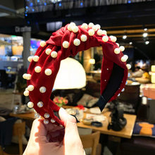 Solid Color Satin Hairband New Imitation Pearls Women Hair Hoop Hairbands Girls Knotted Headband Accessories