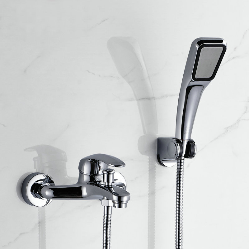 Chromed Polished Bathroom Basin Faucet Bath Tub Mixer Tap With Hand ...