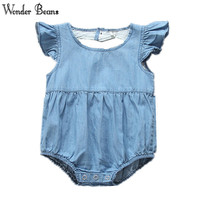 Baby Girl Romper Newborn Baby Soft Denim Puff Sleeve Jumpsuit Infant Girls Back Heart Shape Romper