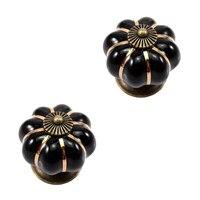 JFBL Hot 12Pcs Pumpkin Zinc Ceramic Door Knobs Drawer Pull Handle Kitchen Cabinet Cupboard Wardrobe Black