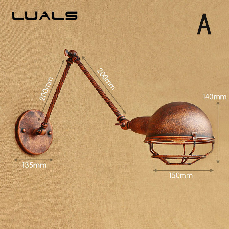 Loft Rust Color Retro Wall Lamp Adjustable Edison Wall Light For Cafe Bar Metal Industrial Wall Lights Indoor Art Deco Lighting loft vintage edison glass light ceiling lamp cafe dining bar club aisle t300