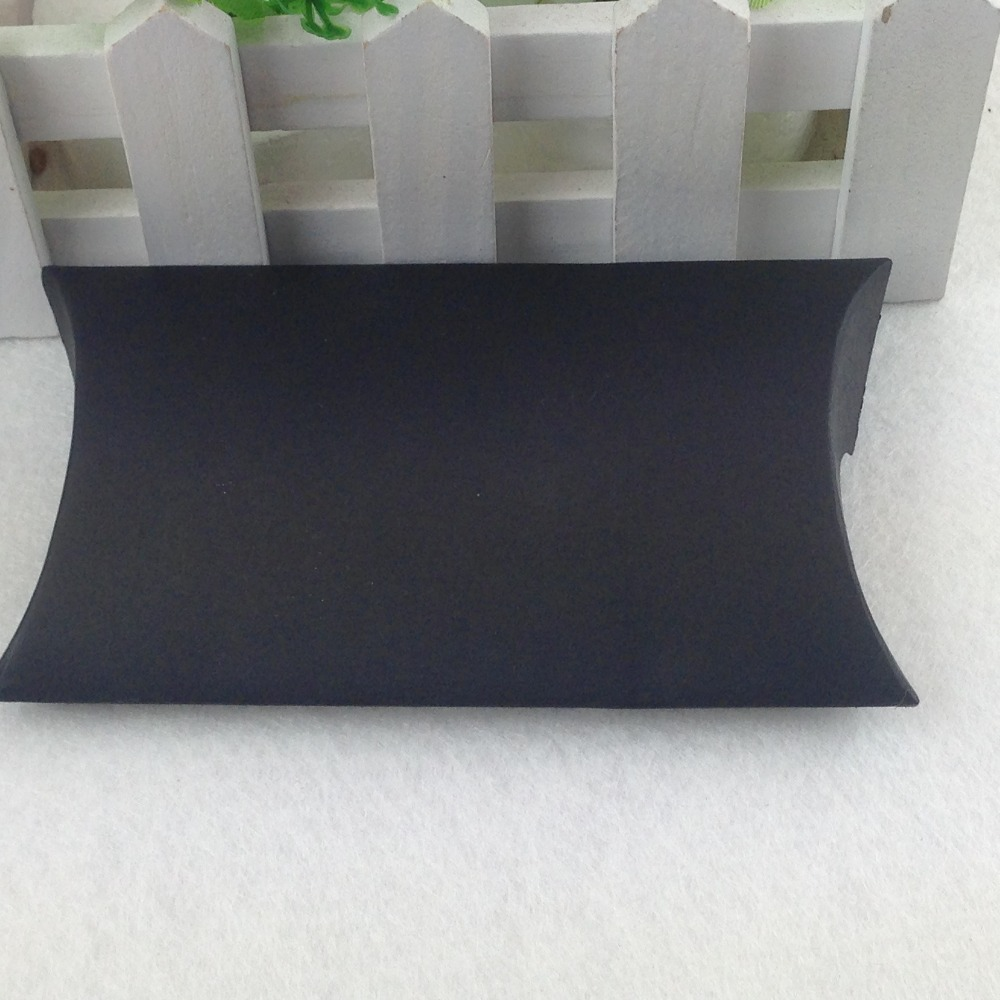 50pcslot 80x55x20mm New Black Gift Box Blank Pillow Box