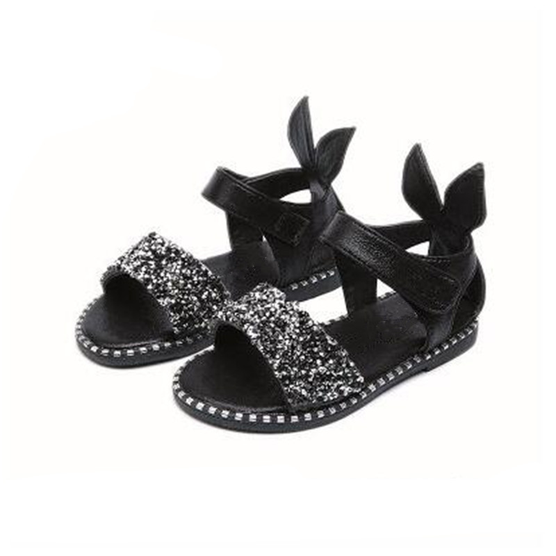 41ce75970432b8 Girls Sandals Summer Kids Shoes Rabbit Diamond Black Leather Children Sandal  Cute Pink Princess Toddler Baby Shoe-in Sandals from Mother   Kids on ...