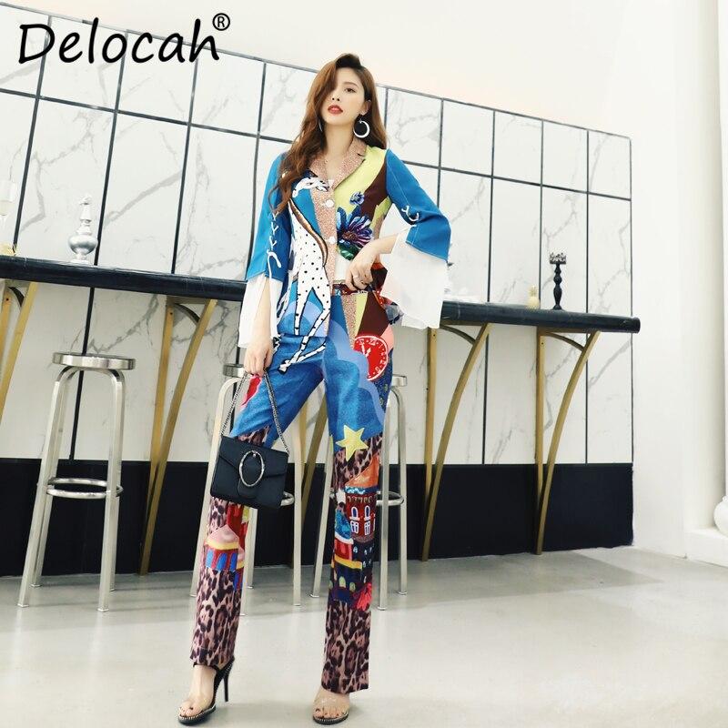 Delocah Spring Summer Women Set Runway Fashion Designer Flare Sleeve Vogue Printed Elegant Modern Casual Long