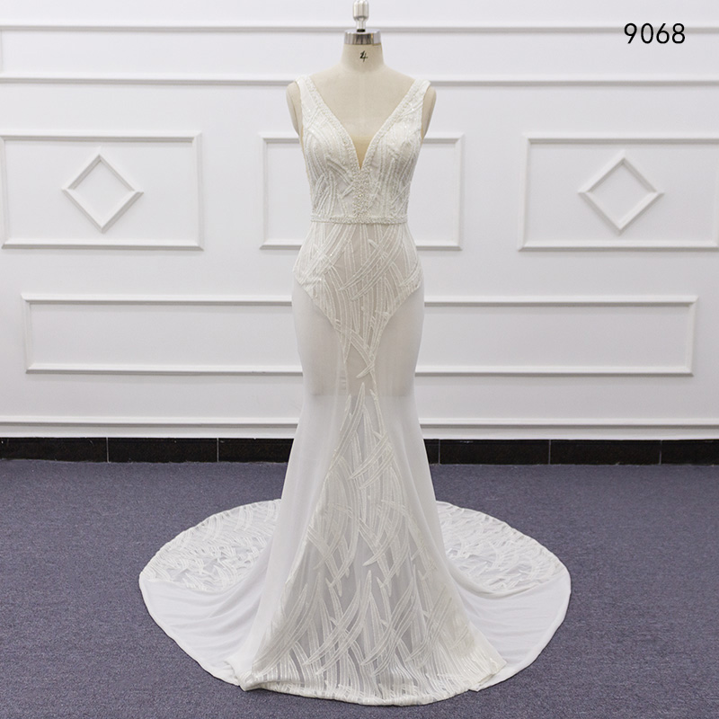 2019 Bridal Gowns Robe Mariee Gelinlik Casamento Vintage Lace Sheath Wedding Dress Hand Made Vestido De Novia Sequin Lace 9068