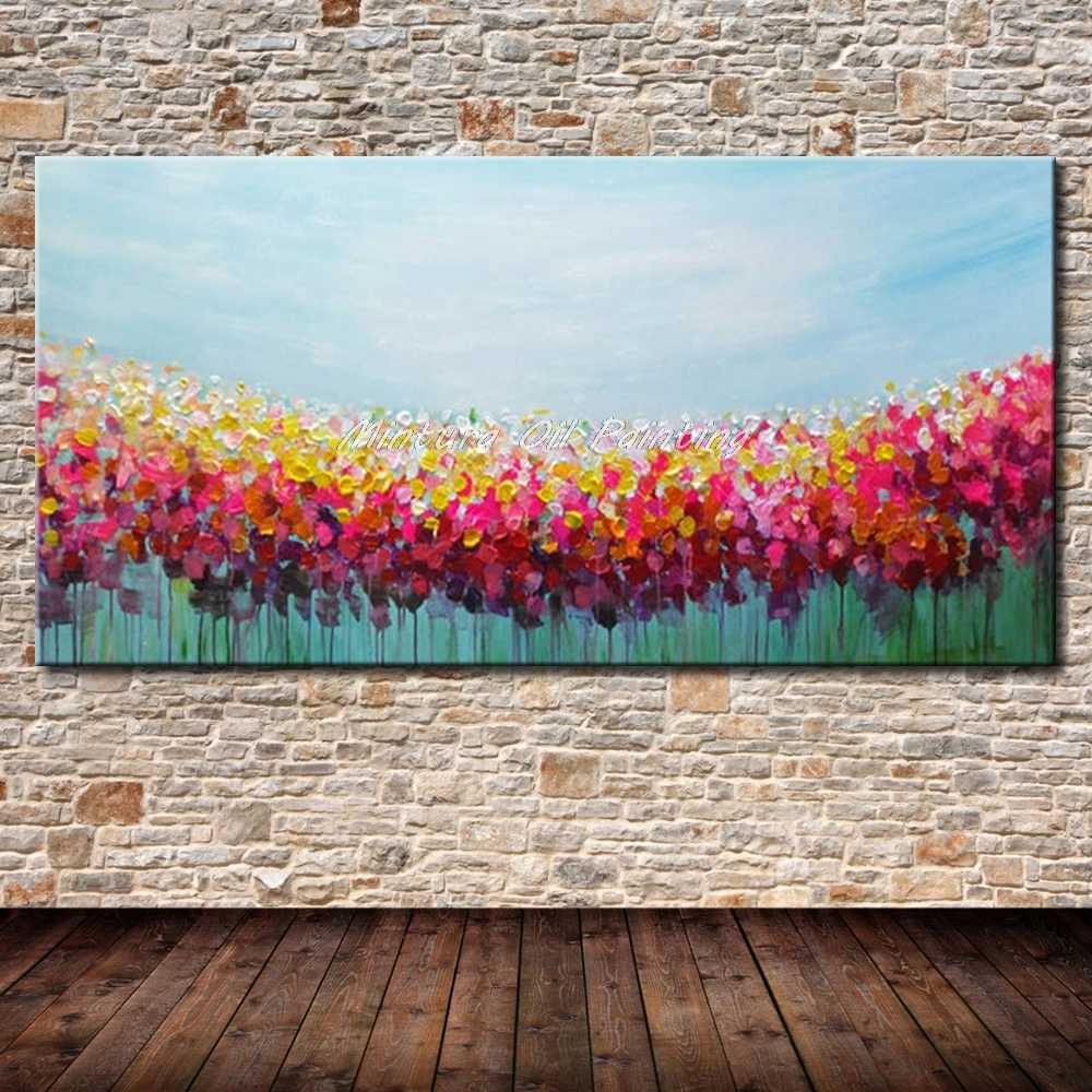 Mintura Art Big Size Hand Painted Canvas Oil Painting Palette knife 3D texture acrylic Flower Landcape Wall Art For Living Room