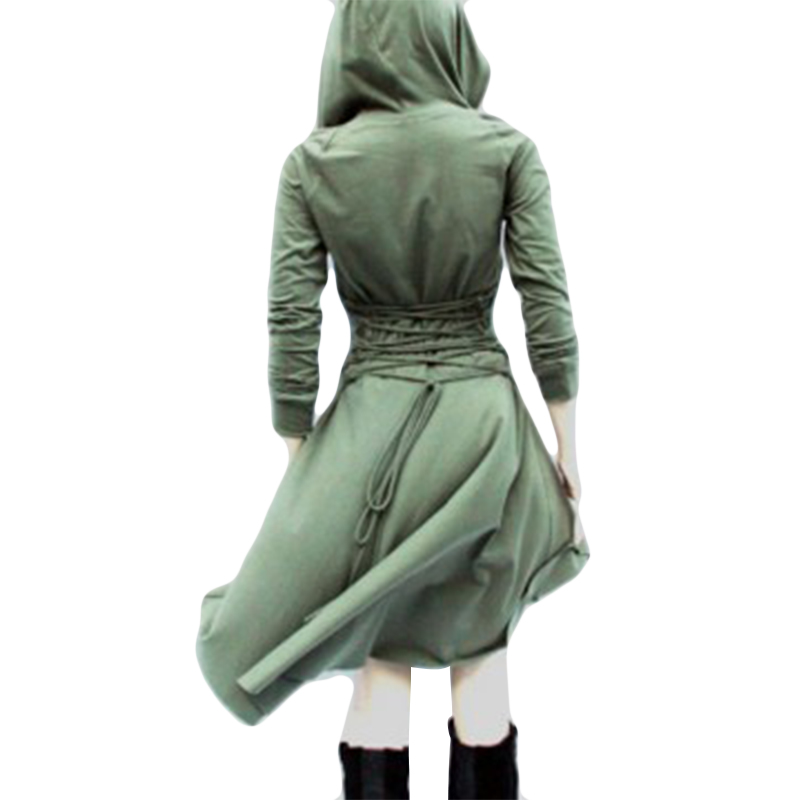 Woman Coats Solid Color Punk Long Sleeve Casual Women Hooded Trench Coat Bandage Trench Waist Belt Hoodie Coat Female Clothing