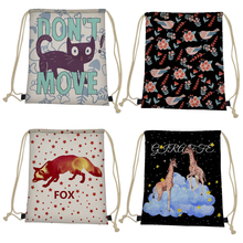 Nopersonality Cute 3d Animal Cat Print Drawstring Bag for Women Portable Kids String Backpack Custom Travel Storage Package Bags