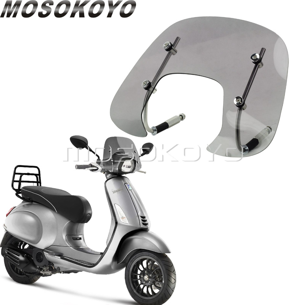 Smoke Motorcycle Windscreen for Vespa SPRINT 150 150cc Flyscreen Bolt On Wind Deflector