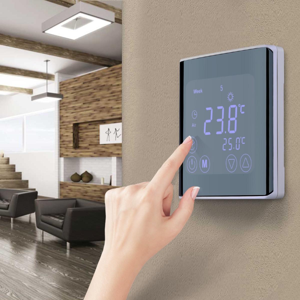 Smart Display LCD Tela Sensível Ao Toque De Aquecimento Termostato Quarto Controlador de Temperatura Programável Radiante Casa Instrumento Temperatura
