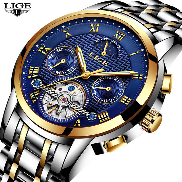 2018 LIGE Brand Watch Men Top Luxury Automatic Mechanical Watch Men Stainless Steel Clock Business Watches Relogio Masculino цена 2017