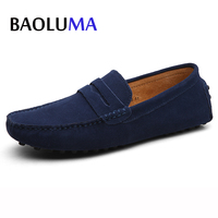 Brand Men Casual Shoes Italy Men Breathable Shoes Real Suede Leather Man Loafers Moccasins Slip On