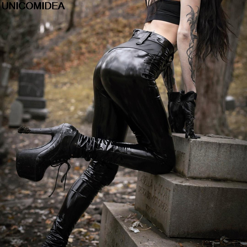 2019 Gothic Subculture PU Leather   Pants   Women Elastic Push Up Sexy Bodycon Pencil   Pants   Skinny Women Trousers   Pants     Capris   Black