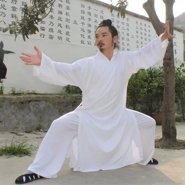 Custom High-grade white black Tai chi Uniform Wudang Taoist Robe Shaolin Monk Suit Martial arts Clothes Wing Chun wushu clothing цена