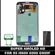 Para Samsung Galaxy i9600 S5 G900 G900F Teléfono Lcd AMOLED Pantalla LCD Reemplazo Asamblea de Pantalla Táctil Digitalizador con la Etiqueta Engomada