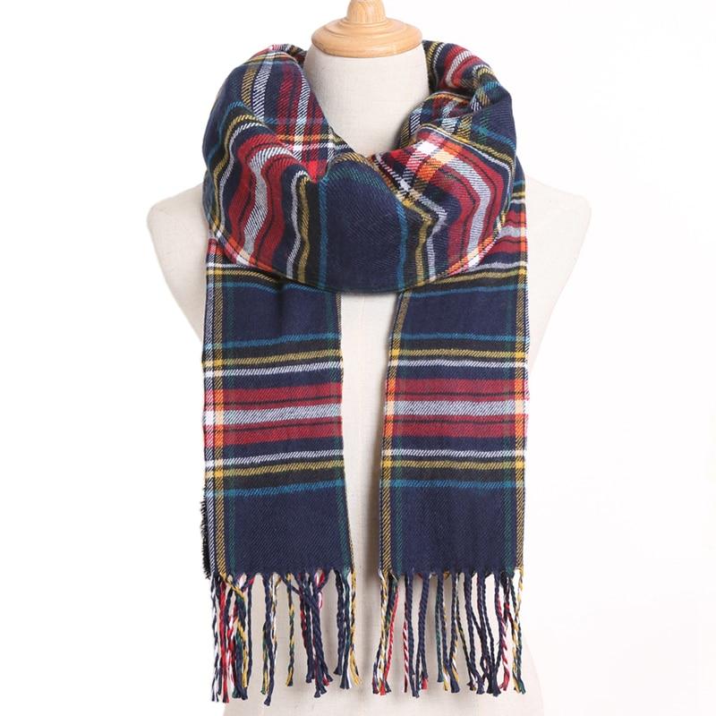 [VIANOSI] клетчатый зимний шарф женский тёплый платок одноцветные шарфы модные шарфы на каждый день кашемировые шарфы - Цвет: 08