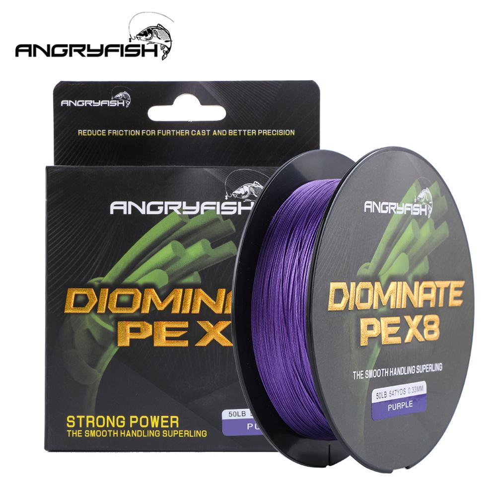 ANGRYFISH Diominate PE X8 Fishing Line 500M/547YDS 8 Strands Braided Multifilament Purple
