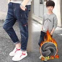 2018 Kids Skinny Jeans For Boys New Fashion Winter Warm Baby Boy Denim Jeans Kids Clothes Teenagers 6 7 8 9 10 11 12 13 14 15 Y