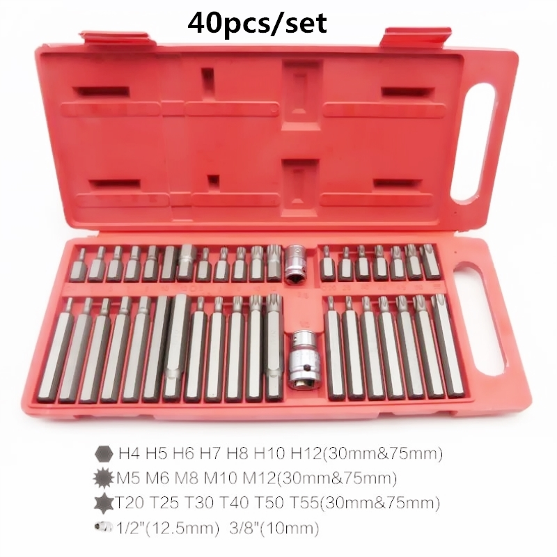 40pcs Torx Star Spline Hex Allen Key Socket Bit Set 3/8 & 1/2 Drive Long Deep mainpoint 1 4 1 2 3 8 e socket sockets set cr v torx star bit combination drive socket nuts set for auto car repair hand tool