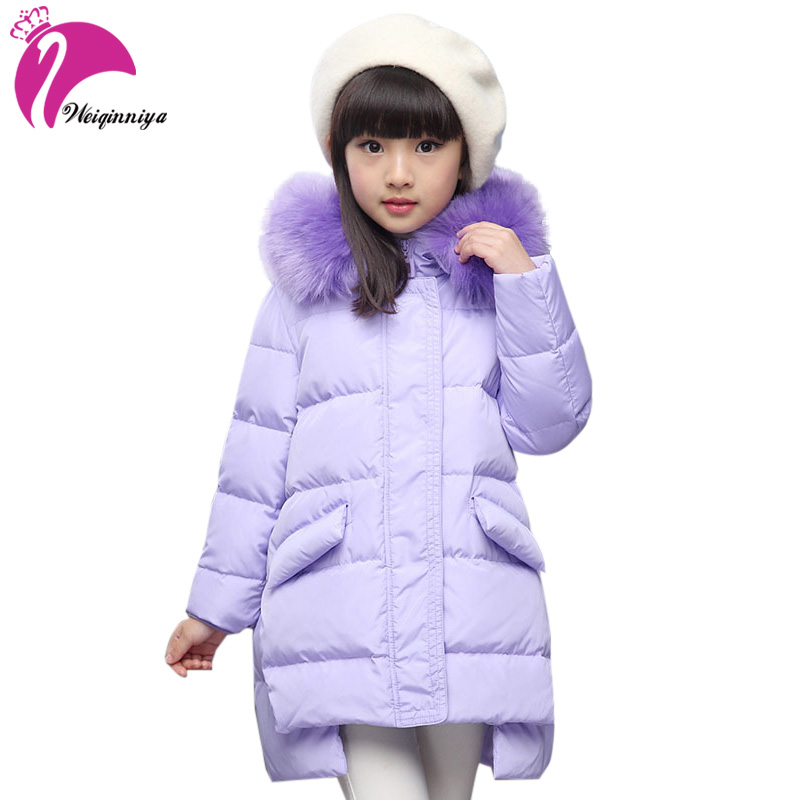 Children Thick Duck Down Jacket Coat For Girls New 2017 Russia Winter Fashion Fur Hooded Kids Outwear Parka Coat For-25 Degree jacket girl casual children parka winter coat duck long section down thick fur hooded kids winter jacket for girls outerwear