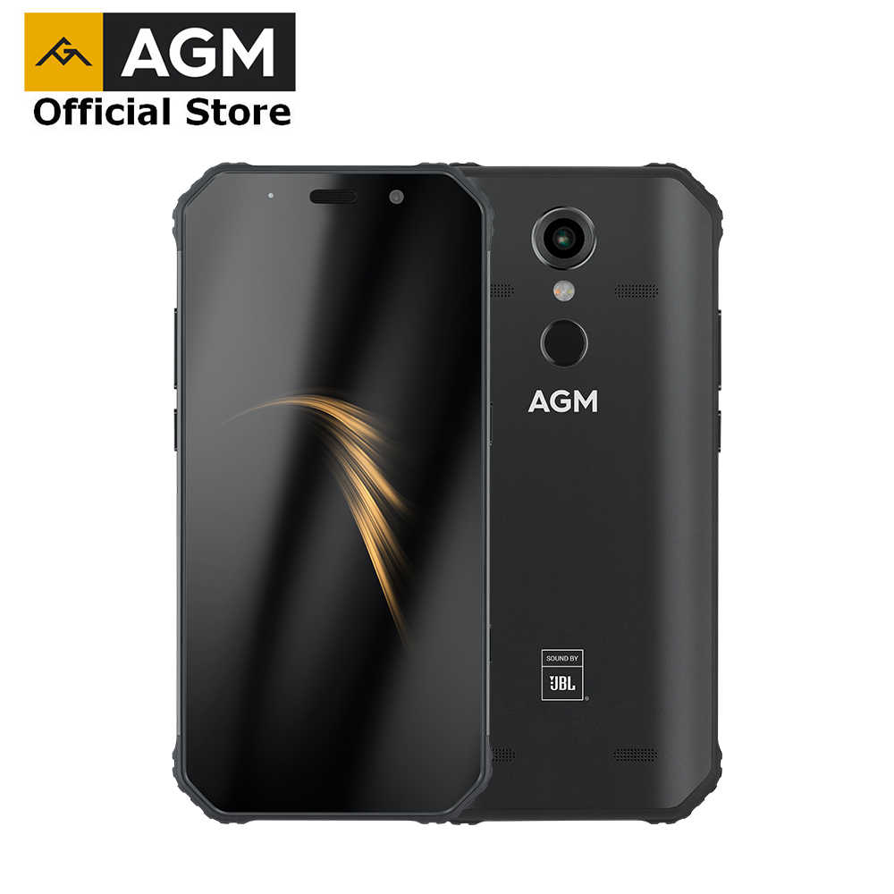 "OFFICIAL AGM A9 JBL Co-Branding 5.99"" FHD+ 4G+64G Android 8.1 Rugged Phone 5400mAh IP68 Waterproof Smartphone Quad-Box Speakers"