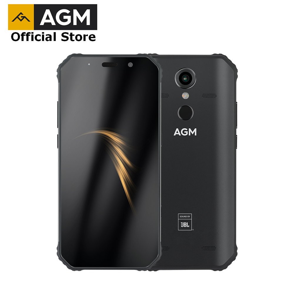 OFFICIAL AGM A9 JBL Co-Branding 5.99 FHD+ 4G+64G Android 8.1 Rugged Phone 5400mAh IP68 Waterproof Smartphone Quad-Box Speakers