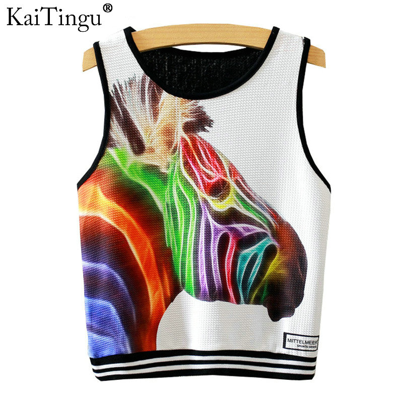 KaiTingu 2016 Brand New Fashion Women Sleeveless Zebra Print Crop Top Casual Sport Top Fitness Women