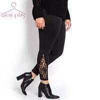 black leggings women large sizes 6xl 5xl 2016 Lace Patchwork Fashion Streetwear Leggin Women High Waist Solid Casual Pants Woman