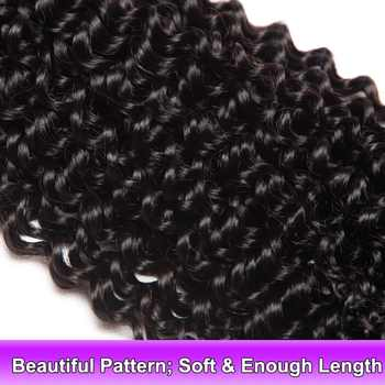 """Kinky Curly Hair 4 Bundles Brazilian Hair Weave ALIPOP Remy 100% Human Hair Extensions Natural Black 400G/Lot 10\""""-28\"""" Inches"""