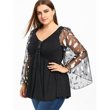 Plus Size 5XL Feather Print Mesh Flare Long Sleeve Top Women Fashion Black V Neck Long Shirt Female