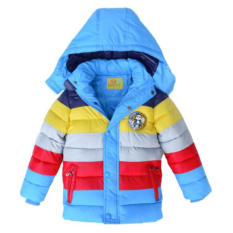 Jacket Kids Winter Down Boys Retail Cotton Striped Coat New-Year