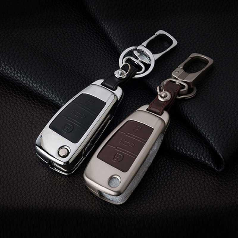 цена на Peacekey Zinc Alloy Leather Car Key Cover Case For Audi A4 B6 A1 A3 A5 A6 A7 A8 R8 Q3 Q5 Q7 TT 80 B5 B7 B8 C5 C6 R8 A4L A6L Key