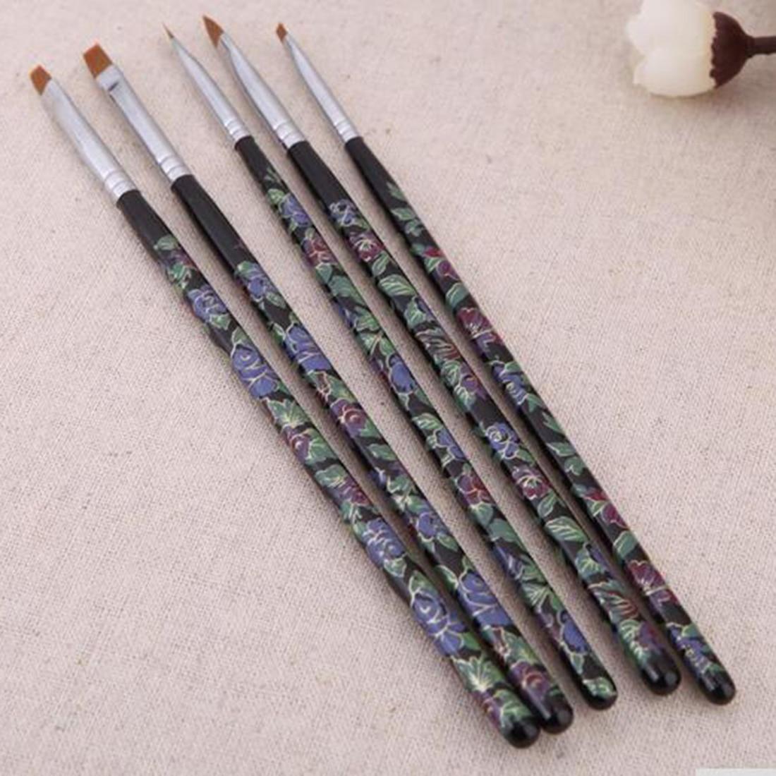 5 Unids Cepillos de Uñas Conjunto Del Arte Del Clavo Del Gel de UV Salon Pen Fla