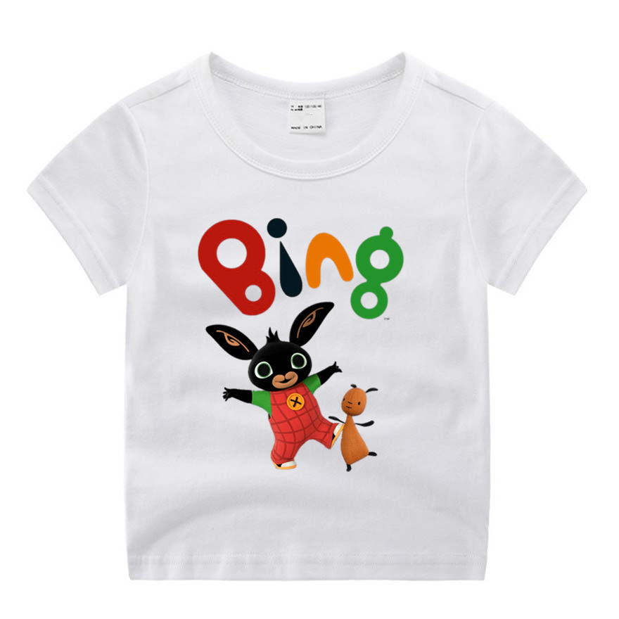 Children Cartoon Bing Rabbit Movie Funny Cartoon Print T-shirt Kids Summer O-Neck Tops Boys & Girls Tshirt Casual Baby Clothes