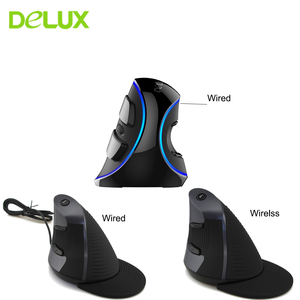 Delux M618 Computer Wired Vertical Mouse Ergonomic USB Optical Healthy Wireless Mouse Gaming Mouse Computer Mice for PC Laptop delux m618 wired vertical ergonomic 1600dpi usb optical mouse black