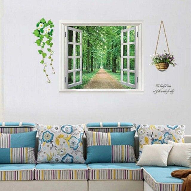 Creative Fake Window 3D Tree Wall Sticker Window Mural Stickers DIY ...
